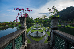Garden Path (ben_leash) Tags: blue bali indonesia wideangle sony a77 tirtagangga tirgagangga garden fountain pool