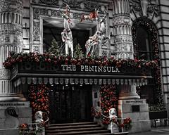 Festive NY The Peninsula bw with reds and greens- (Singing With Light) Tags: city nyc november ny festive photography pentax manhattan 2012 k5 jjp singingwithlight peninsulahotel2012jjpk5nynycnovembersingingwithlightcityfestivemanhattanpentaxphotography