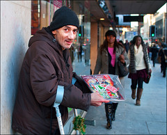 Big Issue Seller, Argyle Street (Charles Hamilton Photography) Tags: street portrait people 35mm december glasgow homeless streetphotography streetportrait shoppers argylestreet bigissue thebigissue bigissueseller busystreet peopleinthecity streetnewspaper nikond90 glasgowstreetphotography glasgowcharacter