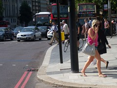 Hot Blonde (Waterford_Man) Tags: summer people london girl path candid tourists denim shorts