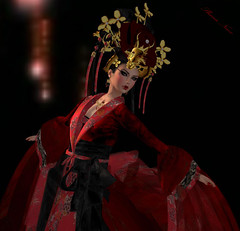 "Kimono DESIR ""SHENA"" (Shena Neox) Tags: china red asian gold costume ancient asia dragon modeling embroidery silk royal sl secondlife kimono empress chine tang shena foral floralfabric desir shenaneox vivienemerald velvetbrocade museninspiration"