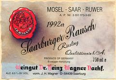 1992 - Saarburger Rausch (Saar) (roger4336) Tags: germany deutschland wine label 1992 mosel wein saar rheinlandpfalz moselle saarburg saarburgerrausch eitkett
