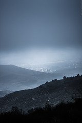 clinging to a cloud (helen sotiriadis) Tags: blue cloud mist black fog canon moody athens greece depth canonef50mmf14usm penteli pendeli canoneos40d