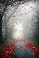Misty Morning (Mah Nava) Tags: road autumn trees light mist fall nature colors leaves fog forest germany deutschland licht mood nebel path herbst natur entrance human wald bltter bume  weg farben thepath
