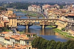 The Old Bridge of Florence - Ponte Vecchio Anno 996 (Bn) Tags: park santa old city travel bridge trees summer vacation italy panorama holiday money hot streets tower art history weather gardens museum del river magazine gold florence italian topf50 europe italia gallery view bell