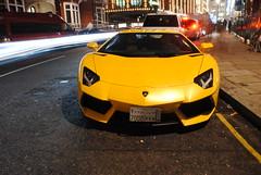 Commotion. (Matt___) Tags: people london yellow matt december trails giallo saudi arabia spotted 2012 rkb 7000 blurrs lambrghini aventador orionlight 7000rkb