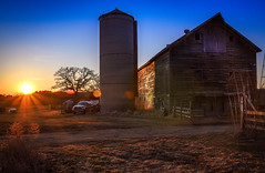 Sunset Barn (rseidel3) Tags: old sunset sky sun barn photoshop illinois nikon glow historic adobe lensflare glowing lightroom oldbarn chicagosuburbs westernsuburbs d7000