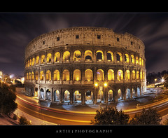 The Night Lights of the Colosseum. Rome, Italy :: HDR (Artie | Photography :: I'm a lazy boy :)) Tags: longexposure italy rome architecture night photoshop canon ancient roman forum tripod amphitheatre engineering medieval structure fisheye colosseum empire imperial coliseum iconic 15mm f28 ef hdr manfrotto artie cs3 flavianamphitheatre 3xp photomatix tonemapping tonemap 5dmarkii 5dm2