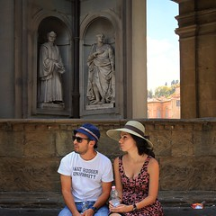Exploring the beauty of Florence (Bn) Tags: santa city boy summer vacation italy sculpture man money hot tower art history girl hat weather museum del river gold florence italian topf50 women couple europe artist italia gallery view bell maria paintings churches courtyard pa