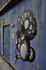 Street art, Tokyo (Electra K. Vasileiadou) Tags: street blue art japan wall mouse graffiti tokyo stencil nikon asia seasia ueno 日本 東京 nezu 根津 グラフィティ ニコン ネズミ 東南アジア d3100