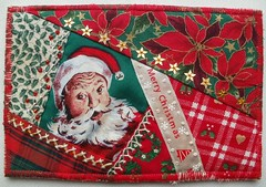 Christmas card for Helin (fatquarter (Annet)) Tags: santa christmas cq frenchknots featherstitch fabriccard fibermail crestedchainstitch tiedherringbonestitch