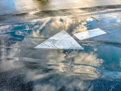 multiple layers (Robert Couse-Baker) Tags: street sky wet rain clouds reflections direction arrow sigm