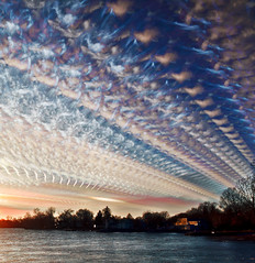 Sky Stitches (Matt Molloy) Tags: trees houses sky cloud ontario canada water lines silhouette landscape photography timelapse bath trails lakeontario stitched merged lovelife photostack mattmolloy timestack