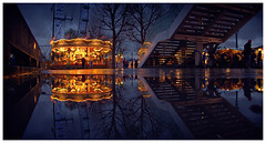 South Bank split (Nick Caro - Photography) Tags: christmas reflection london market londoneye fair southbank caro split gallopers winterfestival xmasmarket nickcaro wwwnickcarophotographycouk