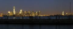 Port Liberte Panoramic Night View (Michael.Lee.Pics.NYC) Tags: world bridge panorama newyork statue skyline brooklyn night port river liberty long exposure manhattan center east wtc hudson lower trade liberte