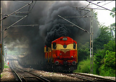 Revving the Engine in IR Style!! (Ankit Bharaj) Tags: india electric train diesel action indian engine smoking gradient locomotive express hyderabad mumbai andhra railways coaches pradesh ankit konark alco irfca wdm3a bharaj kzj kazipet bhubaneshwer ghatkeasr