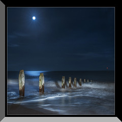 Moonlight (MDSPhotoimages) Tags: sea sky moon water shadows moonlight refelctions groins