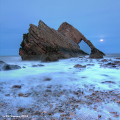 Bow Fiddle Rock, Moray (Kit Downey) Tags: bow fiddle rock moray morayshire portknockie coast long exposure sea rocks moon rise moonrise scotland scottish landscape seascape kit downey canoneos550d rebel t2i tokina1116mmf28 wide angle lens north east december 2012 winter dreamy explore explored coastal wet birds square crop hdr photomatix multiple