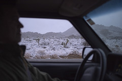 Snow in the Desert from the warmth of the truck! (susan catherine) Tags: landscape joshuatree x100 201213