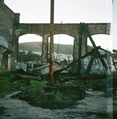 (john daniel reiss) Tags: sf ca city 120 6x6 film landscape rust grafitti empty south medium format pentacon 2012 roundhouse sixtl