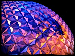 Spaceship Earth (jakedrzewiecki) Tags: world blue orange up night epcot close purple earth disney future spaceship wdw waltdisneyworld walt