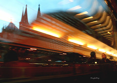Reflection (Henry der Mops) Tags: travel train reisen tracks cologne zug kln rails klnerdom colognecathedral blinkagain