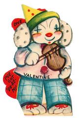 Dead Bunny Clown with Violin Valentine (pageofbats) Tags: carnival vintage circus clown valentine valentinesday sideshow bigtop vintagevalentine