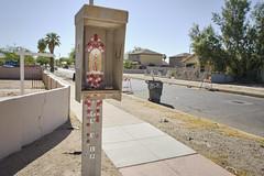 Garfield Historic Neighborhood, no. 10 (GC_Dean) Tags: street city arizona urban house color building tree home colors phoenix wall fence graffiti flora shrine cityscape colours shadows phonebooth space structure palm sidewalk palmtree signpost trashcan virginmary mundane emptiness fillflash urbanlandscape lavirgen virgendeguadalupe offcameraflash sociallandscape offcamerastrobe brokenpayphone bouncedstrobe garfieldhistoricneighborhood