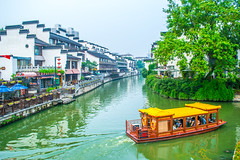 Ancient architectures along the Qinhuai River (wpc302) Tags: watertown building qinhuai river   water boat