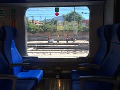 5977 (Zoeki) Tags: menatwork railwaystation foligno blue window lines moodinageometry lights green trenojazz reddot