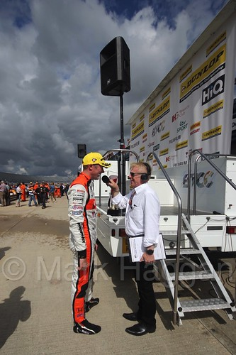 Alan Gow interviews Gordon Shedden after winning at Rockingham, August 2016