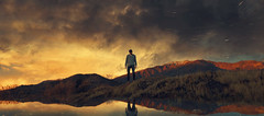 Chaos Theory (Wladimir_J) Tags: mountain mountains reflejo reflex reflections reflection man people landscape vsco vscocam film fineart art sky clouds sunset sun sunlight sundown sunshine sunrise nature