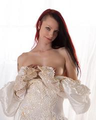 Showing a little more... (Embodyment) Tags: female model modelmayhem dress studio kajira kajirabound striptease weddingdress