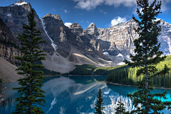 Moraine Lake (Stuart MacNeil) Tags: canada lake moraine lakemoraine hdr reflection landscape blue trees water mountains rockies rockymountains