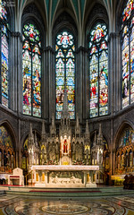 St. Augustine Front Altar Interior Panorama Dublin Ireland (HunterBliss) Tags: abstract altar architecture artwork augustine bright cathedral catholic church city colorful cultural daytime dublin europe european front glass glowing historic historical history illuminated inside interior ireland irish landmark lit masterpiece medieval monument protestant religion spires st stained tourism tourist travel