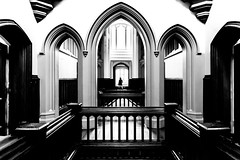 Wray Wraith (iratebadger) Tags: nikon nikond7100 nikkor d7100 indoors inside nationaltrust lakedistrict wraycastle arches architecture bannister archway blackandwhite blackwhite bw iratebadger monochrome castle symmetry silhouette person ghost ghostly