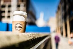 Leaving Leon (Sean Batten) Tags: cup london england unitedkingdom gb coffee leon city urban nikon df 35mm streetphotography street drink bokeh