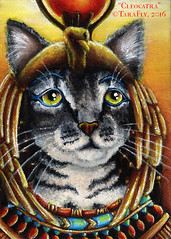 Cleocatra Cat Art Portrait (TaraFly) Tags: egyptian ancientegypt queenofegypt cleopatra egyptianmau catart catpainting catportrait acrylics originalpainting goddessisis pharoah dynasty ptolemy greycat catartist tarafly
