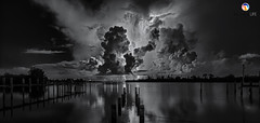 Florida Life: Space Oddity II Monochrome (Thncher Photography) Tags: sony a7r2 sonya7r2 ilce7rm2 zeissfe1635mmf4zaoss fx fullframe longexposure bw blackwhite monochrome scenic landscape waterscape sky clouds storm lightning reflections shadows silhouettes stlucieriver palmcity stuart martincounty florida southeastflorida