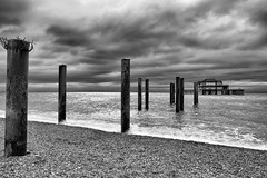 Today Is Everything It Is Because Of Yesterday by Simon & His Camera (Brighton Old Pier) (On Explore 19th Sept 2016) (Simon & His Camera) Tags: pier brighton coast sea seaside beach ruins monochrome blackandwhite bw cloud horizon sky iconic skyline landscape outdoor old simonandhiscamera water serene architecture column explore