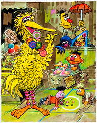 """Puzzle of the Hidden Numbers"", Sherlock Hemlock's Hidden Answer Jigsaw Puzzle by Jack Davis, 1971 (Tom Simpson) Tags: sherlockhemlock bigbird jackdavis sesamestreet illustration vintage television vintagetelevision art painting 1971 1970s grover ernie mrhooper bert"
