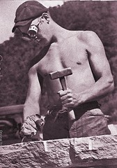 Learning a trade - 1941 (SSAVE w/ over 6 MILLION views THX) Tags: greatdepression civilianconservationcorps ccc boys youngmen workprogram 1929 1941 ccccamps mason stonework shirtless beefcake