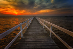 Way to the light.. (Bruno E. Photography) Tags: sweden sunset sun nature sea ocean light orange way