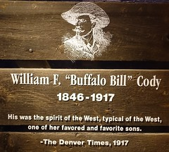 Exhibit at the Buffalo Bill Museum on Lookout Mountain, Colorado (lhboudreau) Tags: buffalobill buffalobillmuseum lookoutmountain colorado usa williamfcody williamfbuffalobillcody cody buffalobillcody scout armyscout death williamfrederickcody plaque 18461917 denvertimes eulogy thedenvertimes 1917 sketch portrait spiritofthewest favoriteson