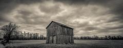 Symsonia Highway Barn (Bob G. Bell) Tags: barn tobaccobarn benton symsonia marshallcounty clouds kentucky rural bobbell bw