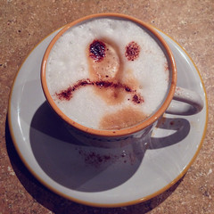 Unhappy coffee (Hayn0r) Tags: cup coffee smile face happy 5 mug 365 latte unhappy saucer iphone day180 365days iphone5