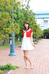 day239-12 red mini cardigan & white race onepiece (Yumiko Misaki) Tags: red white race mini crossdressing transgender transvestite crossdresser cardigan day232 day238 day239 transsexsual lodispotto opepiece