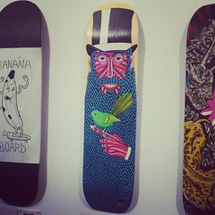 My Birdfinger Brax skatedeck at the @threesixtyproject artshow last night. (Mulga The Artist) Tags: square squareformat amaro iphoneography instagramapp uploaded:by=instagram