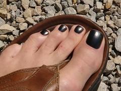 Nice black pedicure (toepaintguy) Tags: man color men guy feet colors foot paint nail polish nails pedicure lacquer pedi