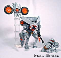 Prometheans (Nick Brick) Tags: brick scale lego 4 nick halo knight minifig watcher crawler forerunner promethean